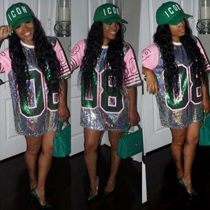 Dresses & Skirts - BLINGED OWT Pink and Green (AKA) 08 Jersey